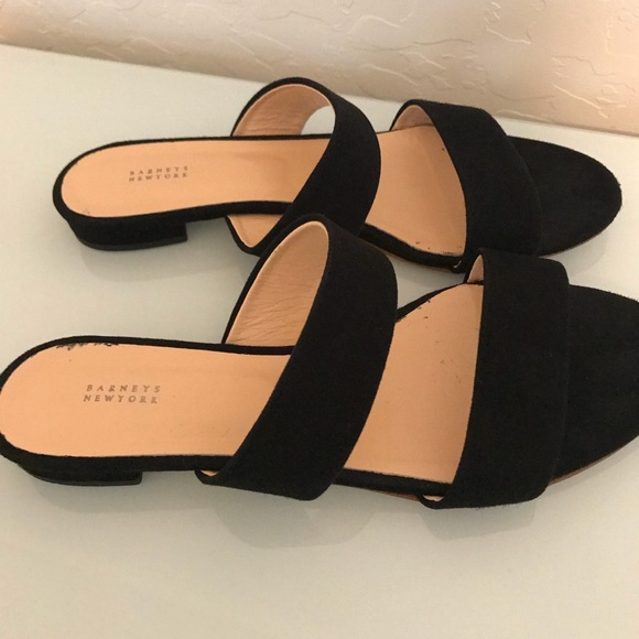 c78557aa2c Barneys New York Shoes - Barneys New York Black Suede Double Band Slides